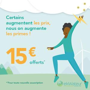 Illustration d'une femme heureuse de profiter de l'offre bienvenue ekWateur, qui offre 15 euros de prime pour toute nouvelle souscription